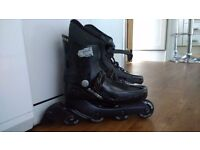 In line skates size 7/8 with protective gloves