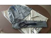Boys Next grey suit with matching navy elastic tie