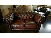 Brown leather chesterfield suite