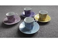 Set of 4 Espresso Cups and Saucers