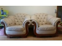 Ferrari Divani cream leather sofas for sale