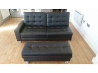 Faux Leather 3 Seater Sofa Bed Storage Ottoman