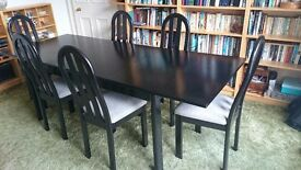 Dining table and 6 chairs 36x91 extended 36x64 black ash very goodcondition