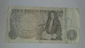 OLD ENGLISH ONE POUND PAPER NOTE NOTE FOR COLLECTORS