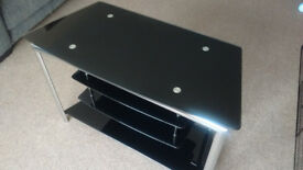 TV stand (black glass with chrome frame)