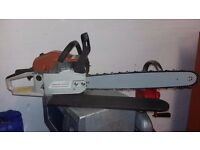 new chainsaw unused with 49 cm or about 20 inches bar , mixing bottle / tool / sharpening kit