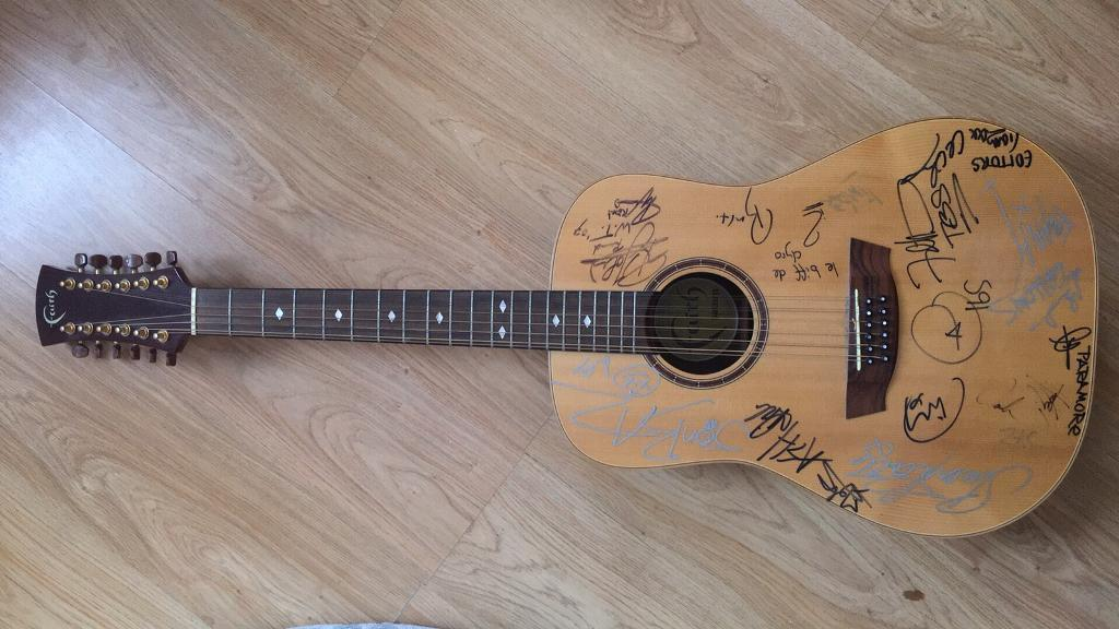 Signed Faith Saturn 12-string Acoustic Guitar With Famous Band Signatures