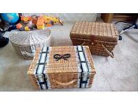 Three Wicker Picnic Baskets