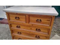 Shabby chic style chest of 5 drawers (2+3)