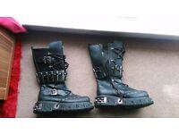 Size 12 Black Gothic / Emo / Punk / Rock Boots (Demonia Brand)