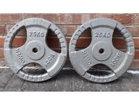 BODY POWER CAST IRON 25KG WEIGHT PLATES