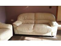 3+1+1 cream leather sofa