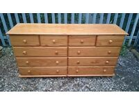 LARGE PINE 10 DRAWER CHEST OF DRAWERS