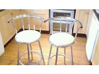 PAIR OF BAR TYPE HIGH STOOLS