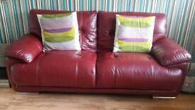 Red Leather settee 3 seater