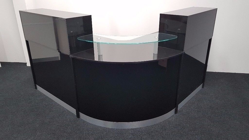 Reception Desk In Black High Gloss 1600mm Ref 0424