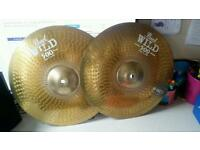 I pair of 14 inch hi hat cymbals. They are Wild 500 cymbals.