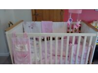 Cot Bed and bedding