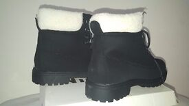 Winter Faux Suede Lace Up With Fur Lined Womens Boots SIZE 36