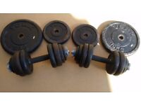 57kg of York Iron Weight Plates + Barbell, Dumbbells and Collars