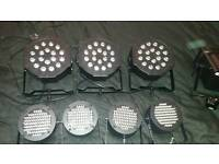Selection of disco/stage lights and T stand.