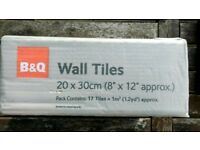 B&Q 20x30 'Low Level Bumpy White Wall Tiles' - 7 unopened + 1 opened boxes