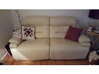 Cream leather electric recliner sofa for sale