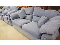 Blue Fabric 2 Seater Sofa and 2 Armchairs
