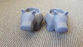 Two hippo tealight holders from next