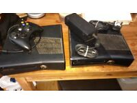2 x Microsoft Xbox 360's 250 GB Matt & Gloss Black Tested Working with 1 Power Brick + Extras