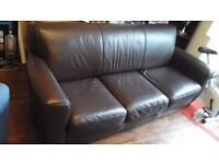 7 ft brown leather settee