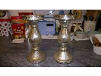 2 silver candle holders