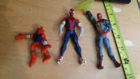 DC Marvel comics avengers Spider-Man action figures x 3 see pics