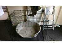 Large dog crate and dog bed