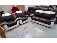 Ex Display ScS Leo Black & White Leather 3 Seater Sofa & 2 Armchairs Can Deliver View Collect NG177