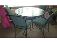 glass iron dinning table 4 chairs ls17