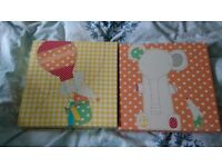 Mamas And Papas Nursery Accessories including Curtains, Cot bumpers, Light Shade and Pictures.