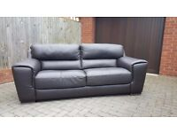 Dark brown real leather 3+2 seater sofas