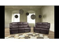 *-*-* SALE *-*-* NEW Leather Recliner Sofas Free Delivery Venice Brown or Black
