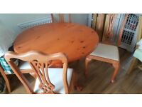 """Round Dining Table 42"""" and 4 matching chairs wood effect seats with cushion base"""