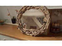 Gorgeous oval handmade driftwood mirror