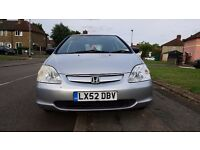 52 plate Honda Civic Silver 1.4 Manual Petrol with 12 months MOT and a new clutch fitted