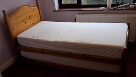 Solid Pine Bed with Trundle Bed Underneath and Two Memory Foam Mattresses