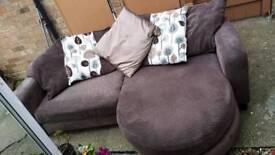 Brown fabric dfs corner sofa