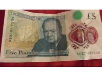 New £5 Note AK57 409666