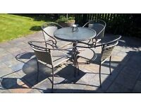 Wicker Rattan Glass Garden Table & Four chair Bistro Set *Can Deliver*