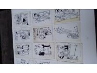 Twelve Black Ink on White Card Typically Bawdy Post Cards