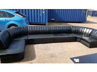 Large black lounge suite 172inch length. ends have lengths of 77 inches and 62 inches.