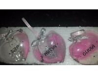 Christmas baubles with names