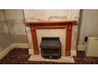 Gas Fire and Wood/Marble Surround Fireplace